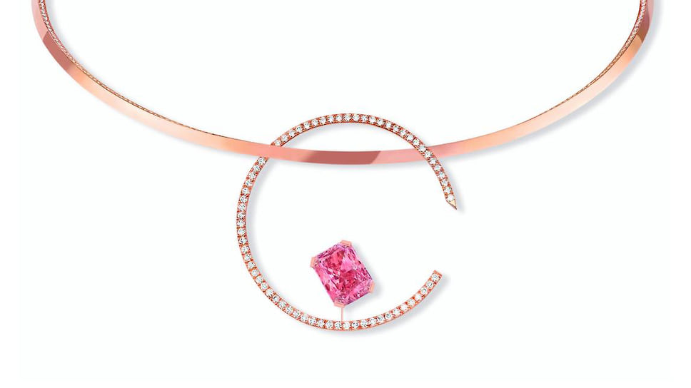 Messika, колье Pink Temptation, розовое золото, розовый и белые бриллианты