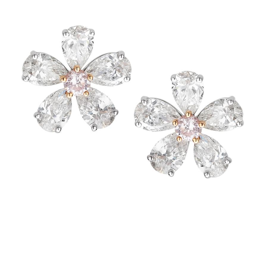 Серьги Mercury, коллекция Flower, белое и розовое золото, белые и розовые бриллианты, 1 927 600 руб., tsum.ru