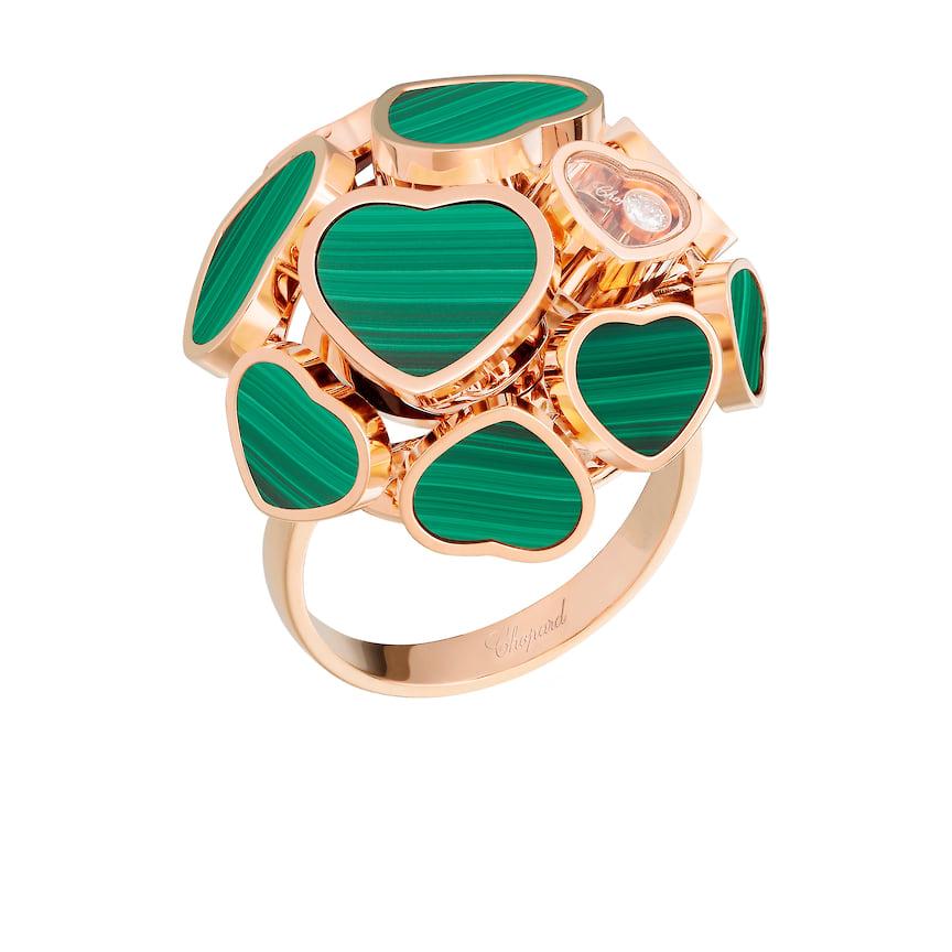 Кольцо Chopard, коллекция Happy Diamonds, розовое золото, малахит, бриллиант, 762 350 руб., tsum.ru
