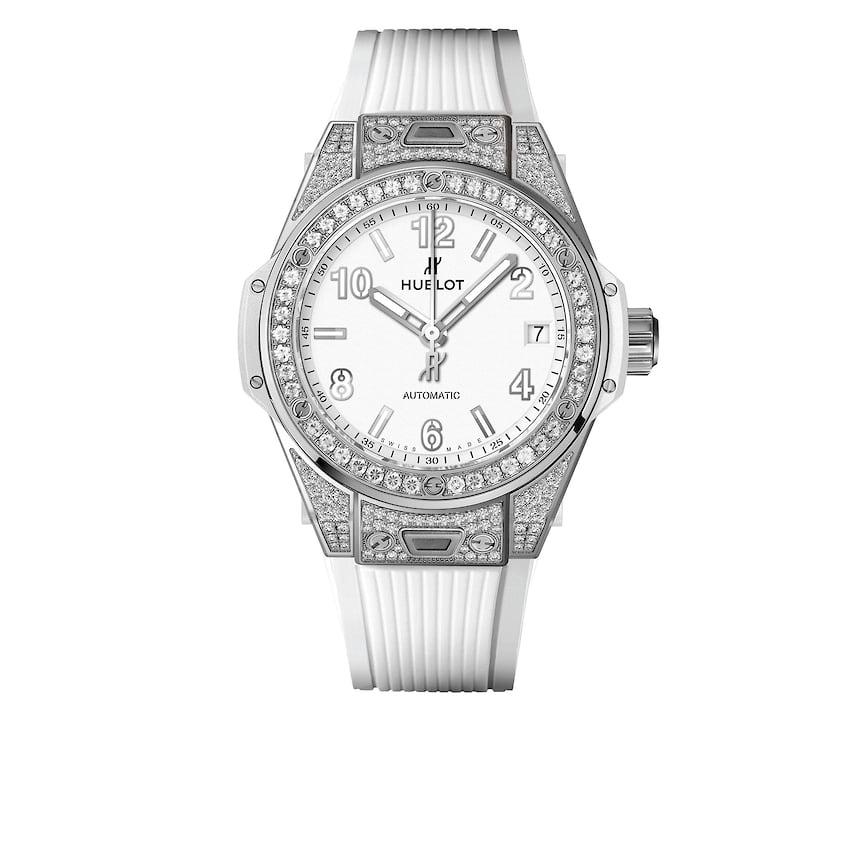 Женские часы Hublot Big Bang One Click Steel White Pave, 39 мм, сталь, бриллианты, механизм с автоматическим подзаводом, каучуковый ремешок, 1 713 800 руб., tsum.ru