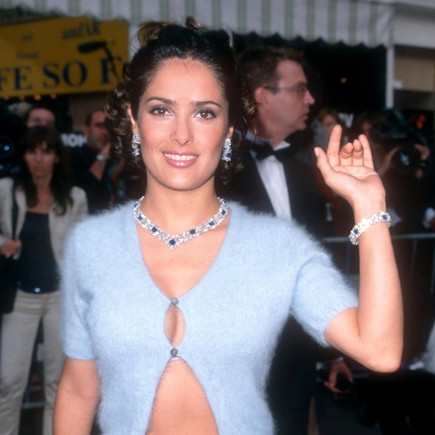Сальма Хайек в парюре с сапфирами и бриллиантами, 1999 год
