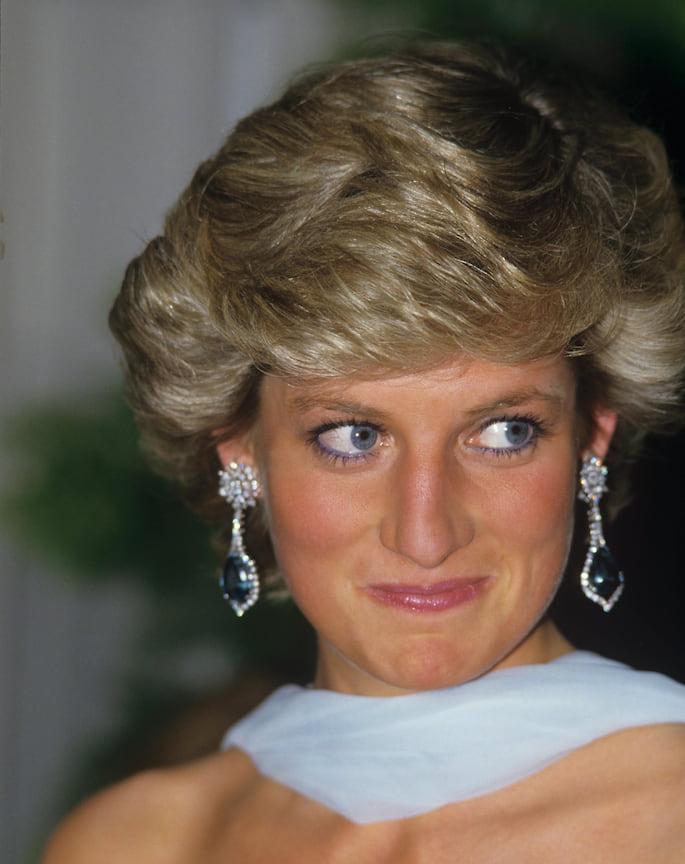 Принцесса Диана в серьгах с сапфирами и бриллиантами, 1987 год