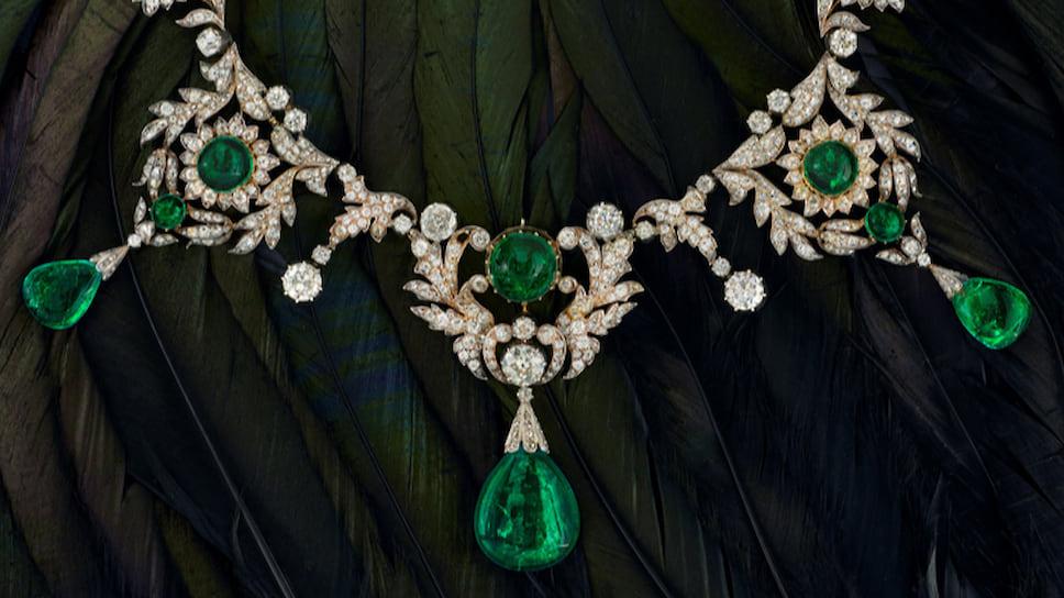 Chatila, колье XIX века, золото, серебро, изумруды, бриллианты