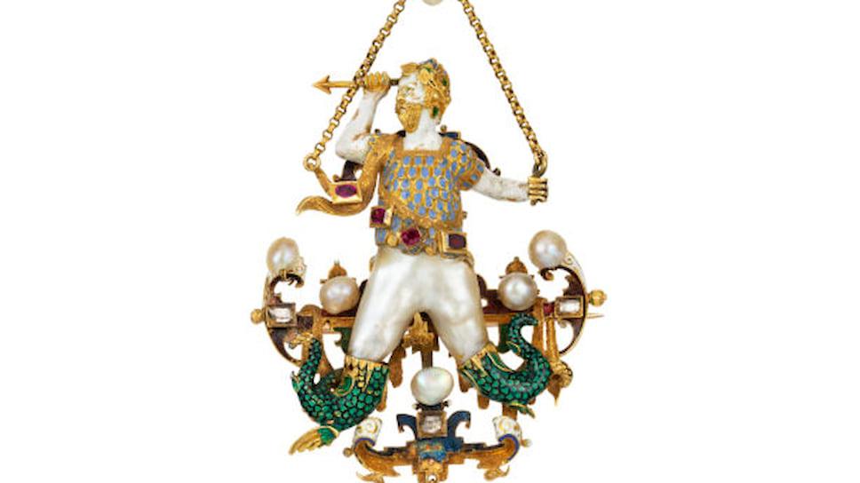 Галерея Bentley & Skinner, брошь в стиле ренессанс, золото, эмаль, жемчуг, рубины, бриллианты, конец XVI века