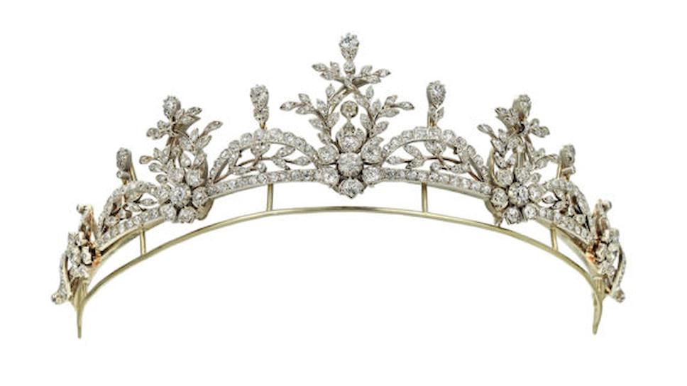 Галерея Bentley & Skinner, тиара в викторианском стиле, золото, серебро, бриллианты, около 1890 года