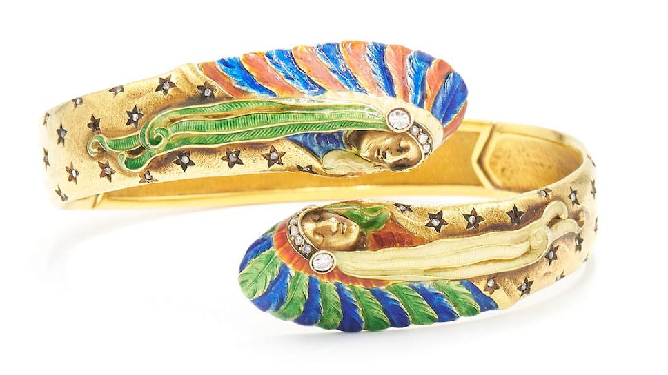 Fred Leighton, браслет в стиле ар-нуво, золото, эмаль, бриллианты, около 1900 года