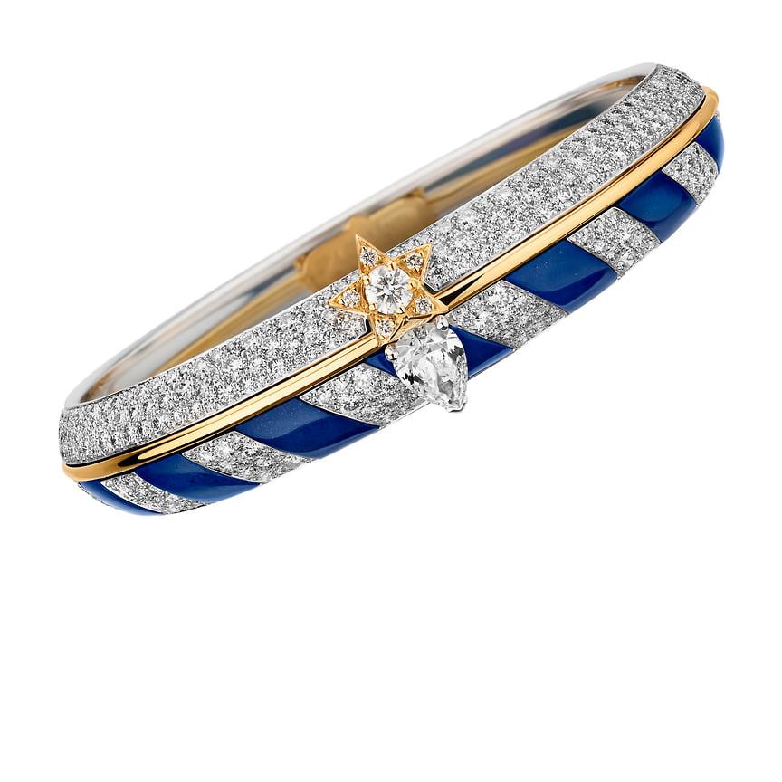 Chanel High Jewelry, браслет Volute Marine, розовое и белое золото, ляпис-лазурь, бриллианты