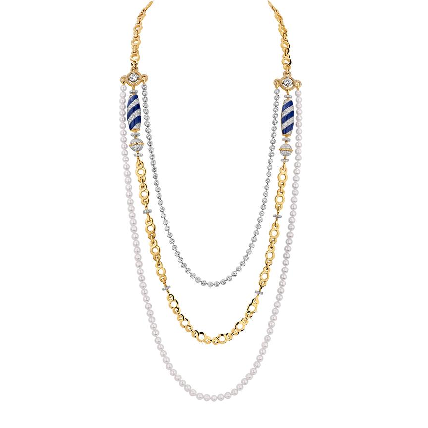 Chanel High Jewelry, колье Volute Venitienne, розовое и белое золото, ляпис-лазурь, бриллианты, жемчуг