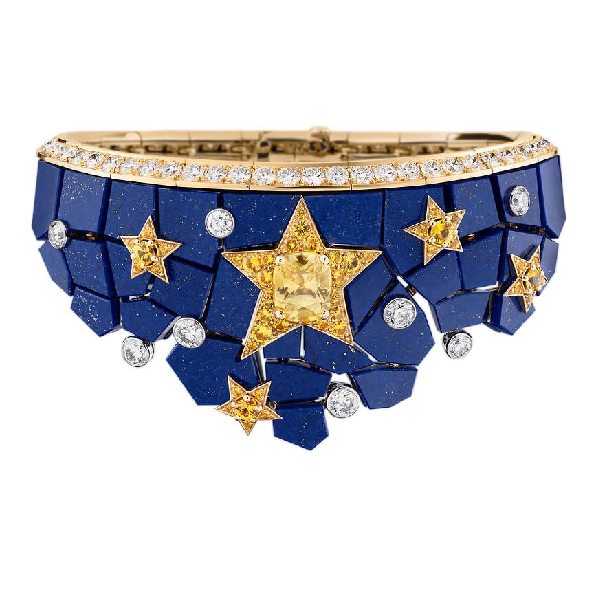 Chanel High Jewelry, браслет Constellation Astrale, розовое и белое золото, ляпис-лазурь, сапфиры, желтые и бесцветные бриллианты