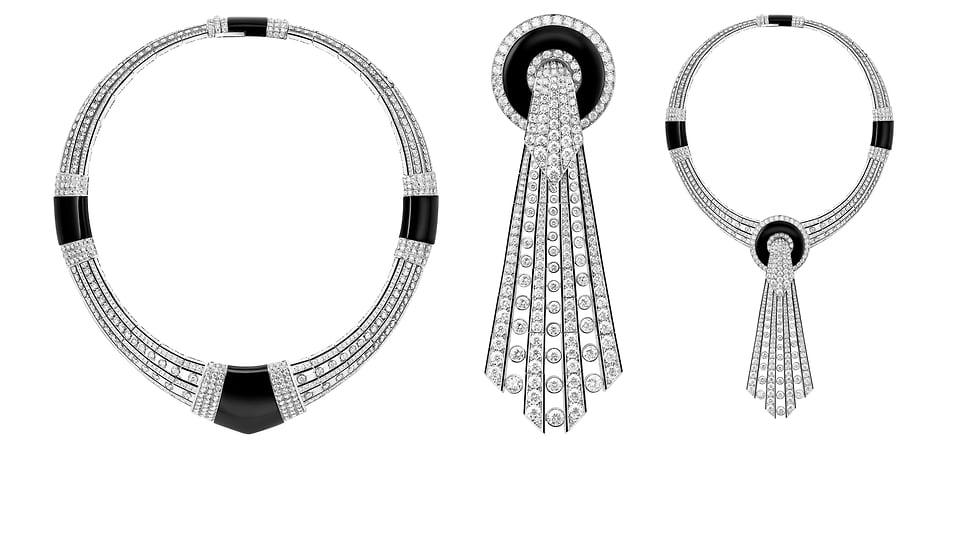 Boucheron, колье Lavalliere Diamants, белое золото, оникс, черный лак, бриллианты