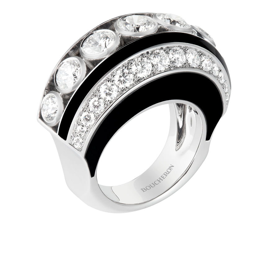 Boucheron, кольцо-трансформер Noeud Diamants, белое золото, черный лак, бриллианты