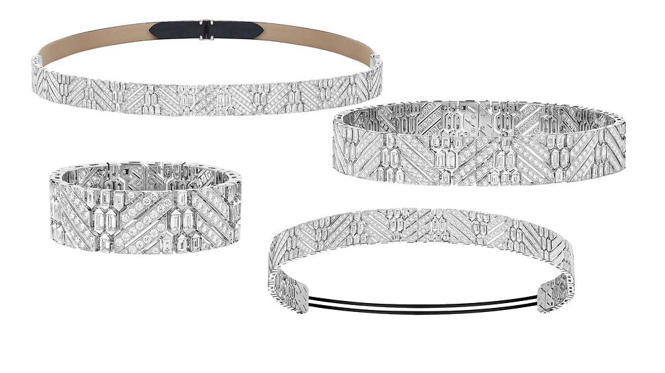 Boucheron, украшение-трансформер (пояс, бандо, чокер или два браслета) Ruban Diamants, белое золото, бриллианты