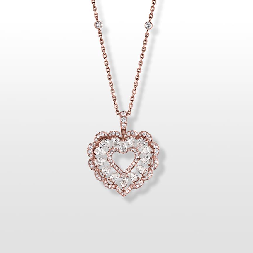 Chopard, подвеска Precious Lace, розовое золото, бриллианты
