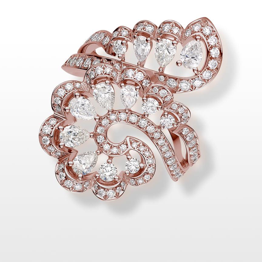 Chopard, кольцо Precious Lace, розовое золото, бриллианты