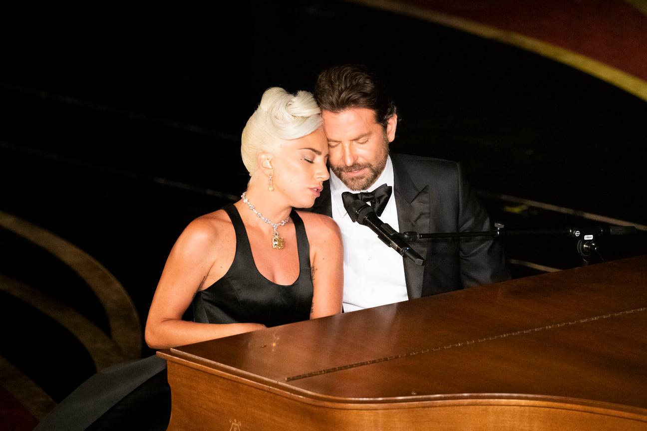 Бредли Купер и Леди Гага на сцене во время 91-ой церемонии «Оскар», Лос-Анджелес, 2019 год
