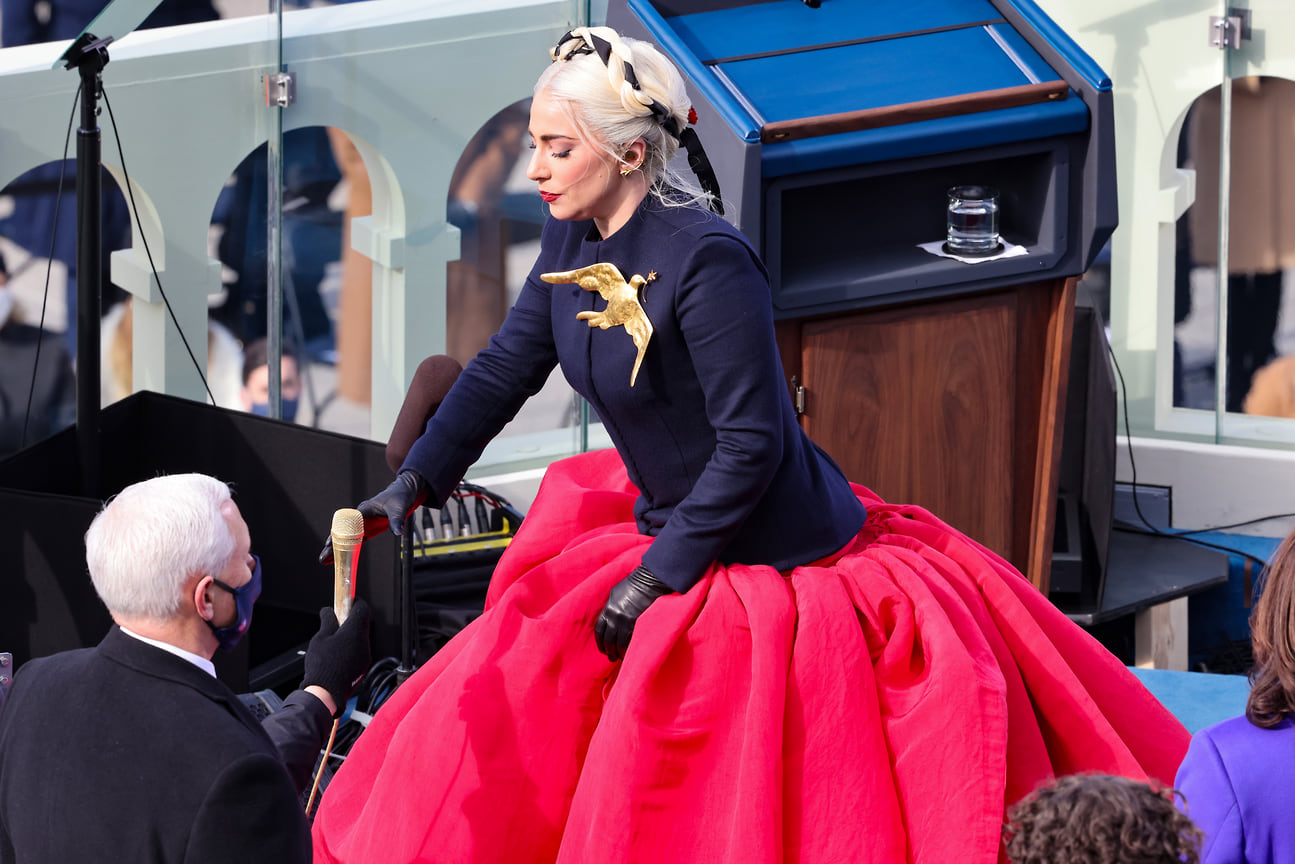 Леди Гага на инаугурации президента США Джона Байдена, Вашингтон, 2021 год