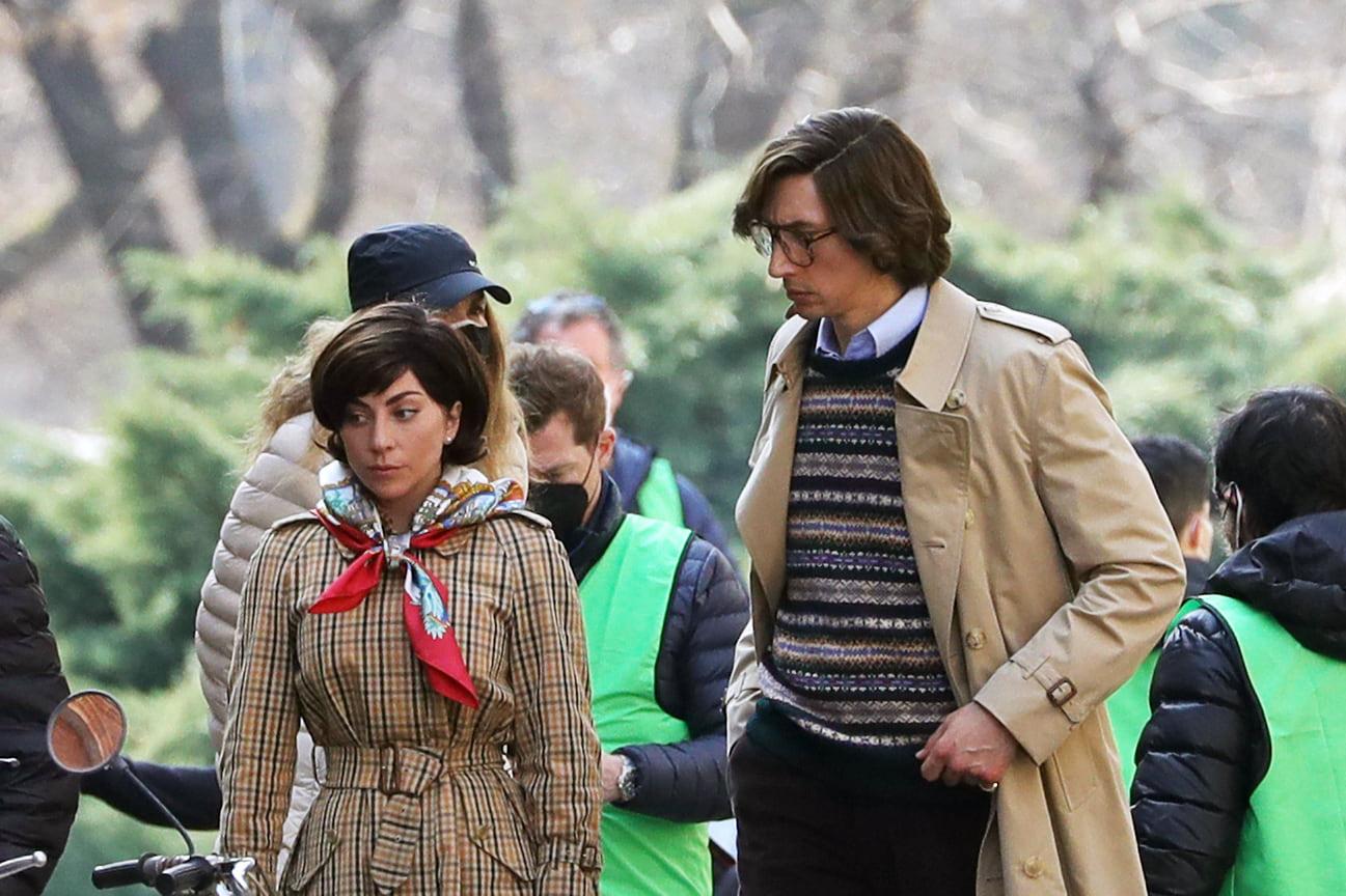 Адам Драйвер и Леди Гага на съемочной площадке фильма «Дом Gucci», Милан, 2021 год