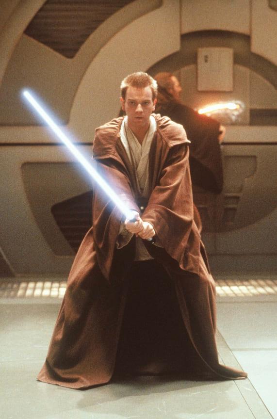 Юэн МакГрегор вфильме «Звездные войны. Эпизод I: Скрытая угроза», 1999 год