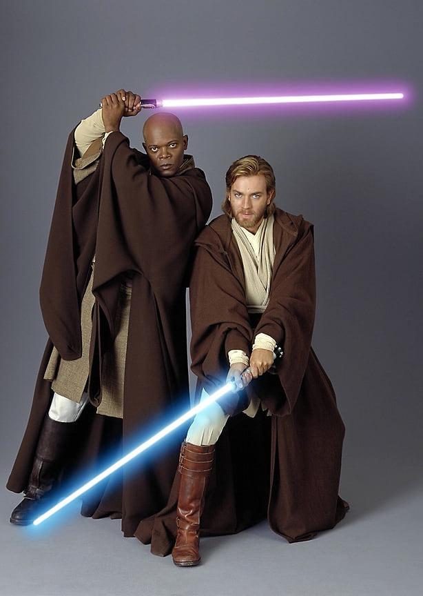 Сэмюэл Л. Джексон иЮэн МакГрегор вфильме «Звездные войны. Эпизод III: Месть ситхов», 2005 год