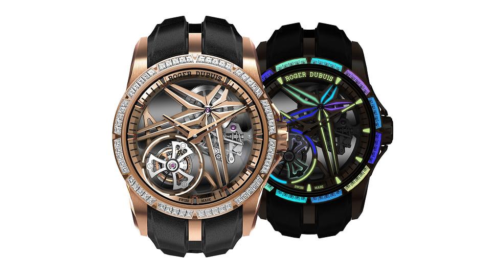 Roger Dubuis, часы Excalibur Single Flying Tourbillon Glow Me Up, розовое золото, 42 мм, механизм с ручным подзаводом
