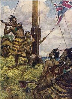 В пылу борьбы с британским колониализмом вождь маори Хоне Хеке вырыл свой топор войны и изрубил флагшток с британским флагом