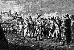 Земли для раздачи военачальникам и сановникам добывались не только шпагой (Суворов принимает капитуляцию), но и пером
