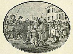 Крестьян, на которых суд ставил клеймо убийц, после телесных наказаний, но перед отправкой на каторгу в Сибирь подвергали процедуре клеймения и вырывания ноздрей