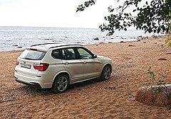 Заехать на песчаный пляж BMW X3 смог с первого раза, выехать — только с десятого