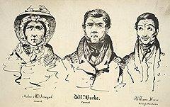 Хелен Макдугал, Уильям Берк (в центре) и Уильям Хэир решили, что проще умертвить живого, чем выкапывать мертвого