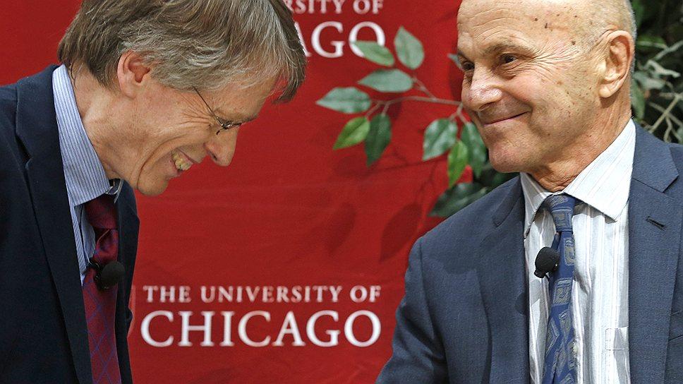 Ларс Петер Хансен (слева) и Юджин Фама (справа) будут спорить о рациональности рынков и после того, как разделят Нобелевскую премию