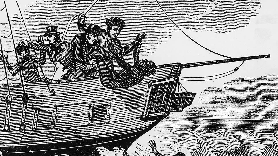 После официального запрета на работорговлю невольничьи суда при появлении английских крейсеров сбрасывали рабов в море прямо в кандалах