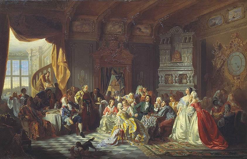 Критикуя богомерзкие танцы и моды нечестивых иноверцев, Посошков будто бы забывает, что все это любимые детища Петра, в которых сам царь охотно участвует