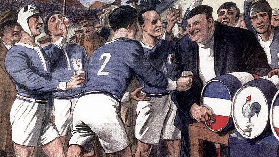 Газета Le Petit Journal от 9 февраля 1930 года раскрывает секретное оружие французской команды регби перед игрой с Ирландией — стакан красного вина