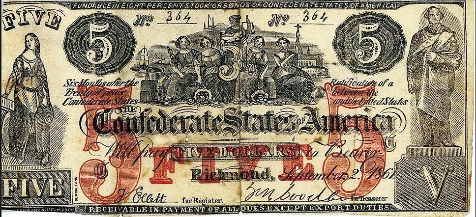 """Начав выпускать деньги конфедератов в качестве """"сувениров"""", Сэм Апэм напечатал 1 564 050 купюр разного достоинства в общей сложности почти на $15 млн"""