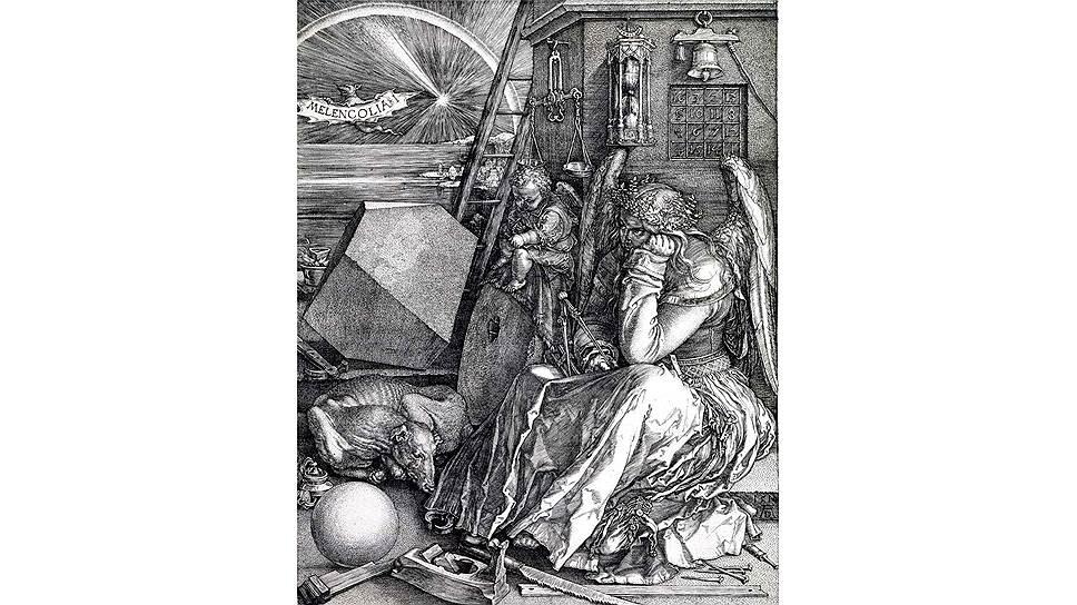 """""""Меланхолия"""" Альбрехта Дюрера: одна из самых известных гравюр; по мнению некоторых искусствоведов, это попытка художника избавиться от тяжелого душевного состояния"""