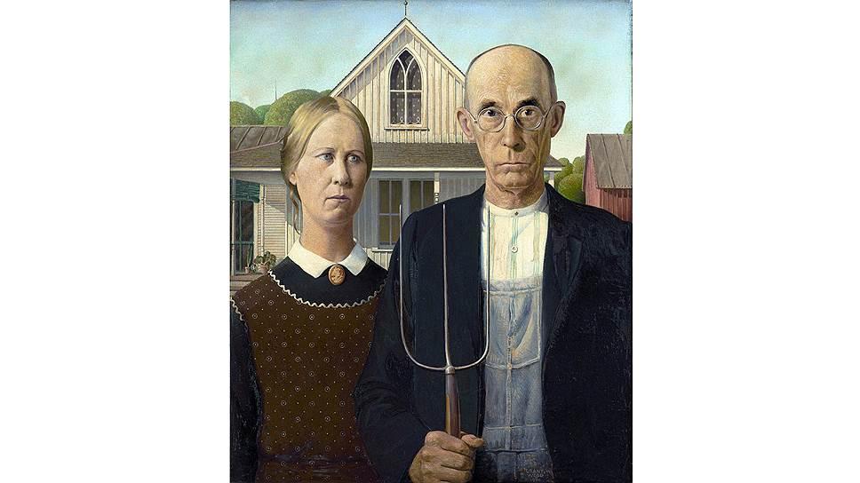 """""""Американская готика"""" Гранта Вуда: самую известную картину многие критики склонны считать сатирой на """"реднеков"""" и их образ жизни, однако сам художник это отрицал. У большинства зрителей полотно вызывает довольно мрачные мысли"""