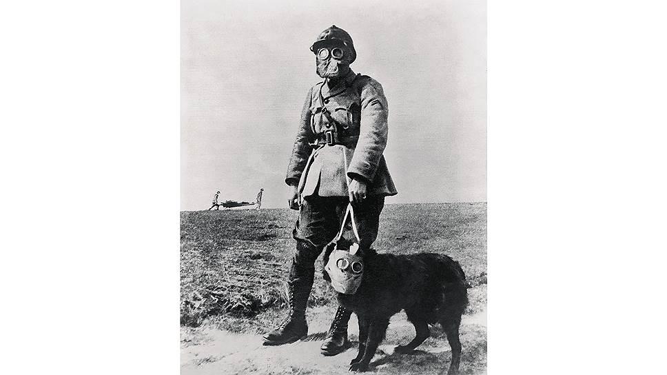 Сержант французской армии времен Первой мировой войны и его собака впротивогазах
