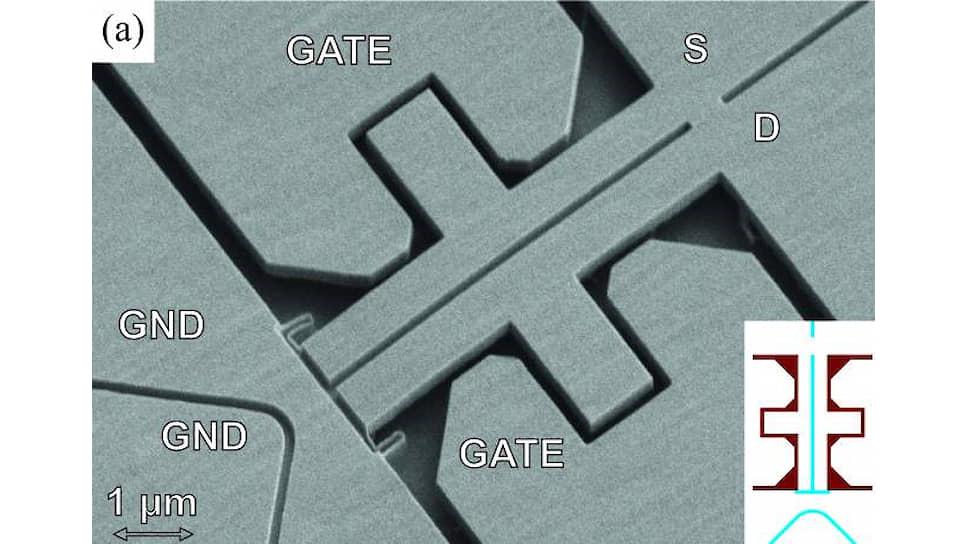 Изображение нанорезонатора, полученное с помощью электронного микроскопа, масштаб 1 микрон