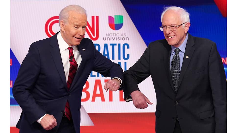 Вышедший из борьбы за президентство Бернард Сандерс (справа) родился 8 сентября 1941 года, ему 78 лет. Оставшийся претендентом Джозеф Робинетт Байден — младший моложе, ему 78 будет только в ноябре