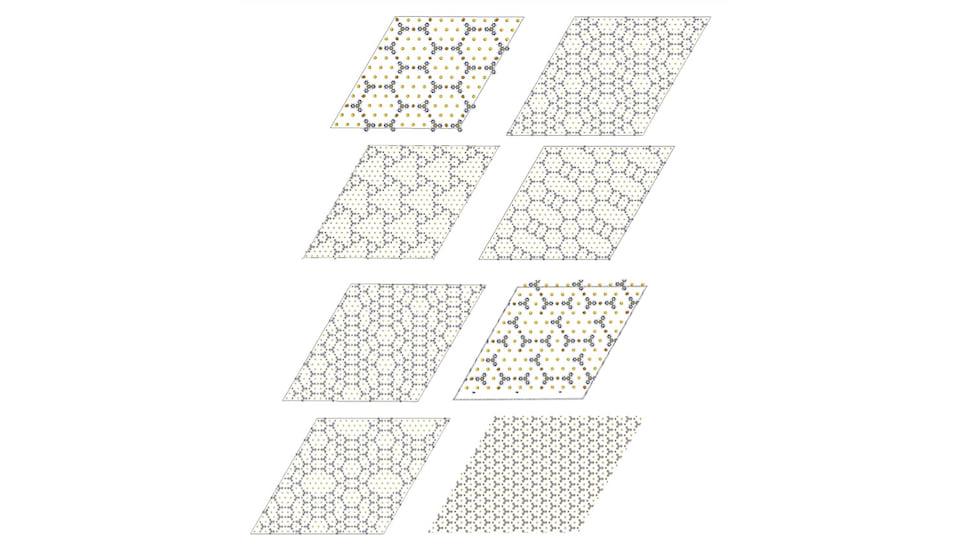 Набор структур, которые могут формироваться смесью атомов металлов и органических молекул на поверхности инертного металла, например, золота