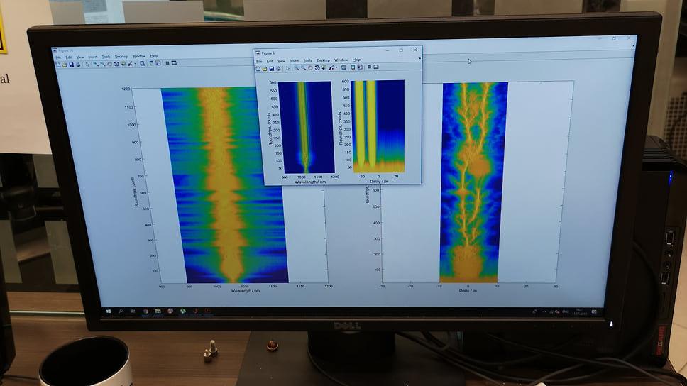 В работе над моделью тулиевого лазера. На экране — продольные сечения волокна с проходящим излучением