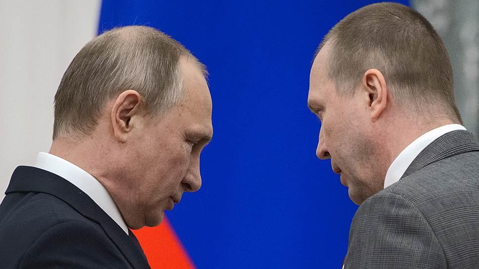 Президент России Владимир Путин и актер Евгений Миронов