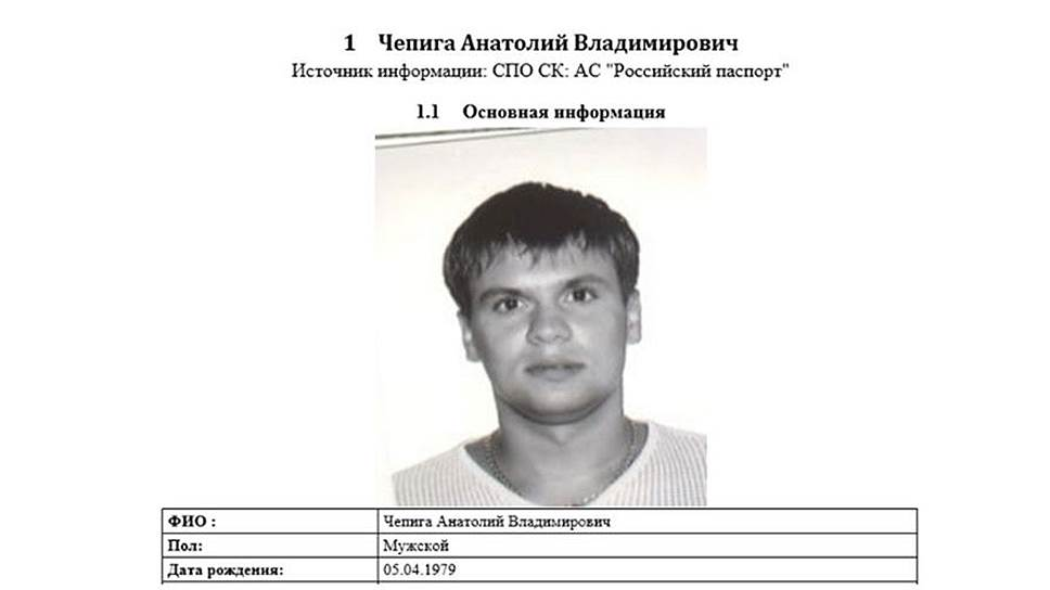 Опубликованная The Insider выписка из системы «Российский паспорт» 2014 года