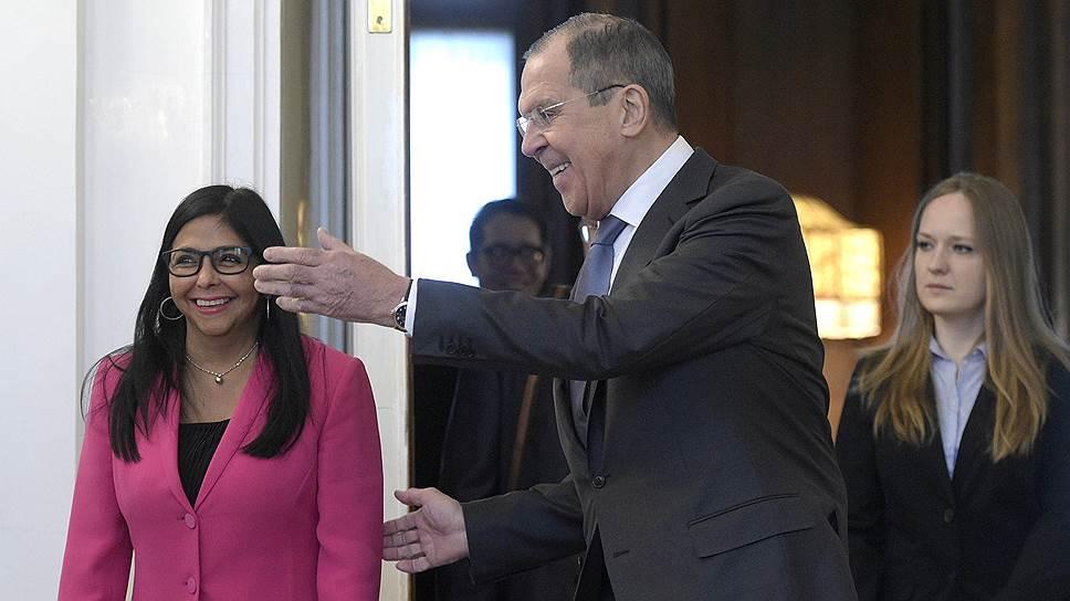 Вице-президент Венесуэлы Делси Родригес и министр иностранных дел России Сергей Лавров