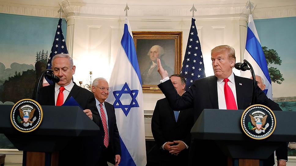 Премьер-министр Израиля Биньямин Нетаньяху (слева) и президент США Дональд Трамп