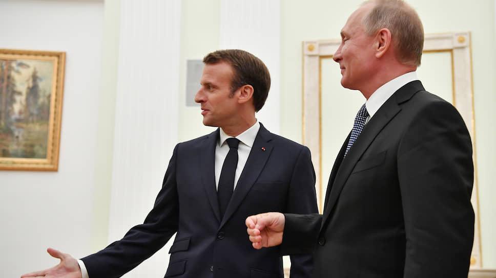 Президент Франции Эмманюэль Макрони президент России Владимир Путин