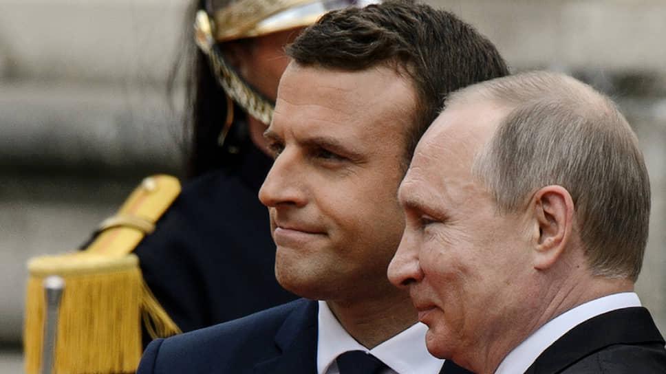 Президенты Франции и России Эмманюэль Макрон и Владимир Путин