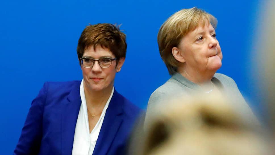 Председатель ХДС, министр обороны Германии Аннегрет Крамп-Карренбауэр (слева) и канцлер Германии Ангела Меркель