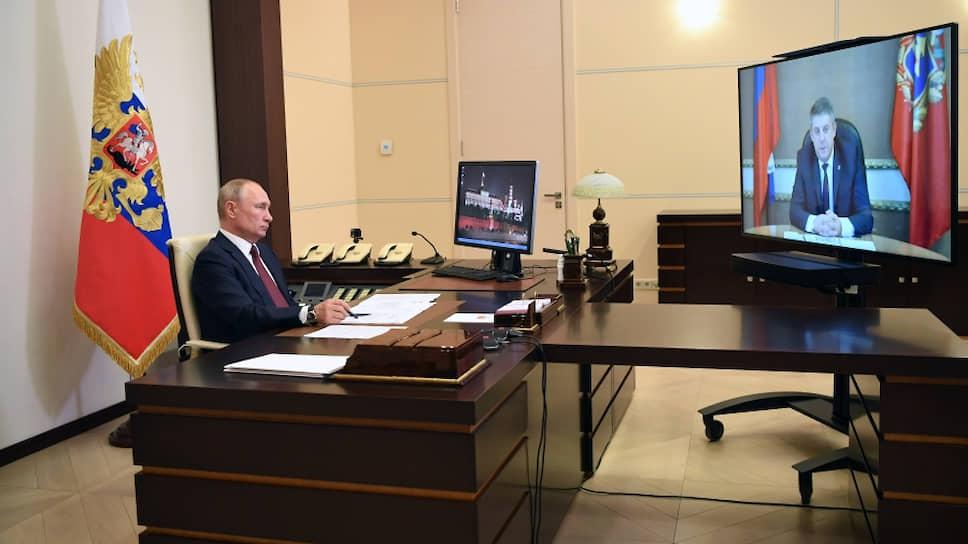 Президент России Владимир Путин и губернатор Брянской области Александр Богомаз