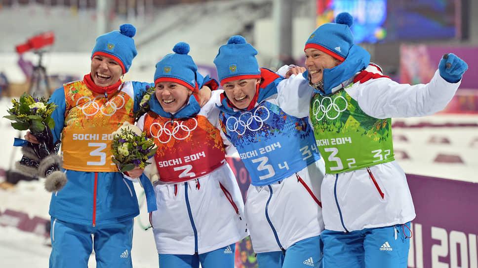 Члены олимпийской сборной России по биатлону: Екатерина Шумилова, Яна Романова, Ольга Вилухина, Ольга Зайцева (2014 год)